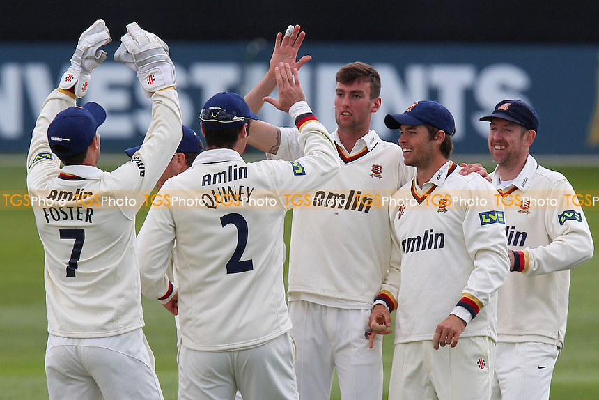 Reece Topley of Esse (3rd R) celebrates the wicket of Adam Wheater - Essex CCC vs Hampshire CCC - LV County Championship Division Two Cricket at the Essex County Ground, Chelmsford - 29/04/13 - MANDATORY CREDIT: Gavin Ellis/TGSPHOTO - Self billing applies where appropriate - 0845 094 6026 - contact@tgsphoto.co.uk - NO UNPAID USE.
