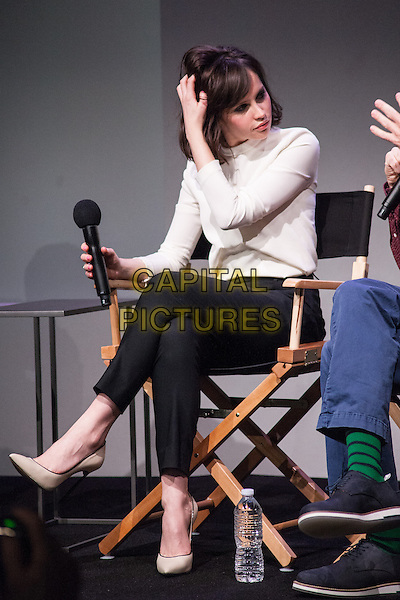 NEW YORK, NY -  MARCH 17: Felicity Jones attends 'Meet The Filmmakers' at Apple Store Soho on March 17, 2014 in New York City. <br /> CAP/MPI/COR99<br /> &copy;COR99/MPI/Capital Pictures