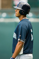 Outfielder Jose Rivero (6) of the Pulaski Mariners waits for his turn to hit during batting practice at Calfee Park in Pulaski, VA, Saturday July 5, 2008.