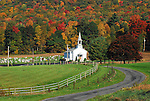 Country Church in Rose Valley, Gamble Township Lycoming County, PA in autumn.