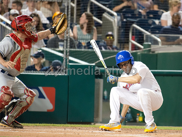 United States Representative Hakeem Jeffries (Democrat of New York) ducks under a high, inside pitch as he bats in the sixth inning of the 56th Annual Congressional Baseball Game for Charity where the Democrats play the Republicans in a friendly game of baseball at Nationals Park in Washington, DC on Thursday, June 15, 2017.  Rep. Jeffries will play in the infield. Photo Credit: Ron Sachs/CNP/AdMedia