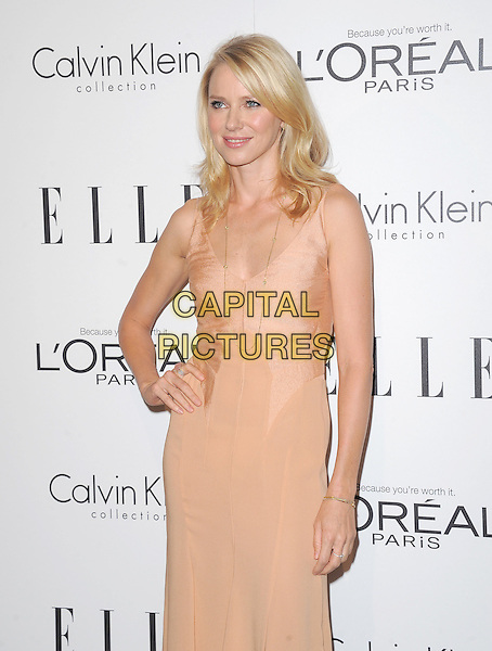 Naomi Watts.18th Annual ELLE Women in Hollywood celebration held at The Four Seasons in Beverly Hills, California, USA..October 17th, 2011.half length dress hand on hip nude beige.CAP/RKE/DVS.©DVS/RockinExposures/Capital Pictures.