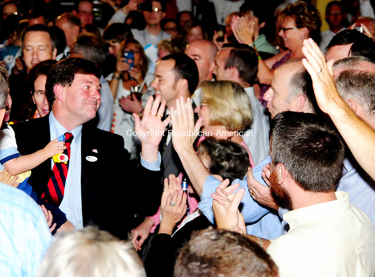 TORRINGTON, CT 14 AUG 12 - 15_NEW081512AJ01 - Sen. Andrew W. Roraback, R-Goshen, is greeted by supporters before he announced his victory in the Republican primary for the 5th Congressional District on Tuesday at Backstage restaurant in Torrington. Alec Johnson / Republican-American.