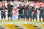 23 August 2008: Argentina players celebrate after receiving gold medals. The Medal Ceremony for the Men's Olympic Football Tournament was held at the National Stadium in Beijing, China after the Gold Medal match.