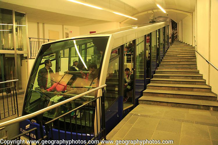 Floibanen funicular railway train carriage, Bergen, Norway