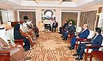 Egyptian President Abdel Fattah al-Sisi meets with Vice President and Prime Minister of the United Arab Emirates (UAE) Sheikh Mohammed bin Rashid Al Maktoum, in Cairo, Egypt, on April 25, 2019. Photo by Egyptian President Office
