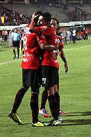 CÚCUTA -COLOMBIA, 17-04-2013.  Jugadores del Cúcuta celebran el segundo gol en contra de Envigado durante partido de la fecha 11 Liga Postobón 2013-1./ Cucuta's players celebrate the second goal against Envigado during match of the11th date of Postobon  League 2013-1. Photo: VizzorImage/STR