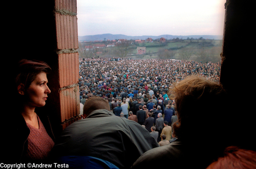KOSOVO. Gllamnik. 24 Nov 2000..Approximately 4000 people gather for the funeral of Xhemal Mustafa, a journalist and high ranking member of the moderate LDK party that won the recent elections. He was shot and killed outside his apartment in central Pristina on 23 Nov 2000..©Andrew Testa