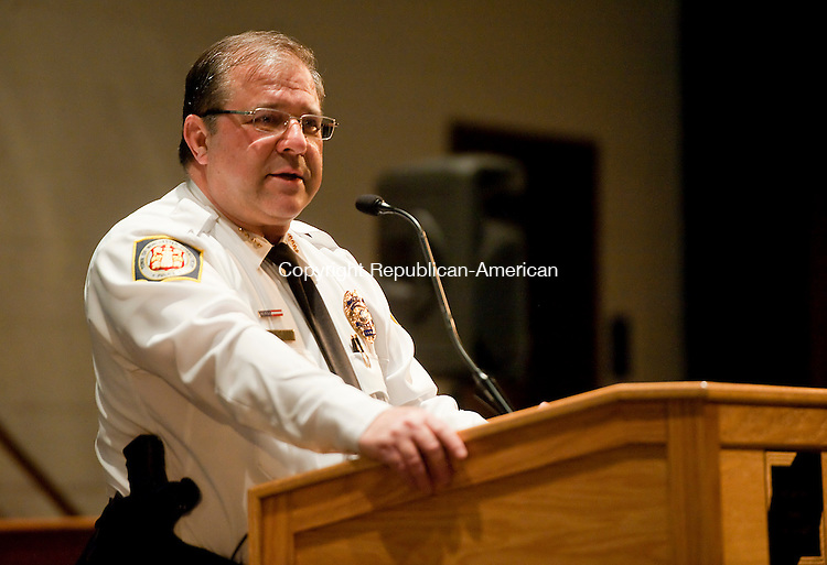 WINSTED,  CT-110716JS03- Winchester Police Chief William Fitzgerald was one of the panelists during a community forum hosted by The Gilbert School in Winsted on Monday The forum focused on underage drinking and drug use and the new social host laws. This was the first of four forums scheduled to help inform parents and students. <br /> The next one will be held on December 1 at Northwest Regional High School and will focus on opiods and the community crisis.     Jim Shannon Republican American