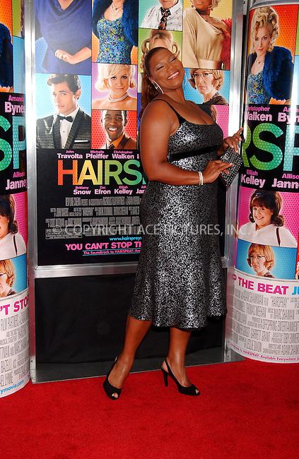 WWW.ACEPIXS.COM . . . . .....July 16, 2007. New York City.....Actress Queen Latifah arrives at the 'Hairspray' Premiere held at the held at the Ziegfeld Theater in New York City...  ....Please byline: Kristin Callahan - ACEPIXS.COM..... *** ***..Ace Pictures, Inc:  ..Philip Vaughan (646) 769 0430..e-mail: info@acepixs.com..web: http://www.acepixs.com
