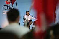 Elezioni in Grecia. Manifestazione finale di Syriza prima delle elezioni legislative, 14 giugno a Atene in piazza Omonia il leader del partito Alexis Tsipras.