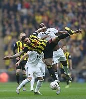Watford's Andre Gray and Wolverhampton Wanderers' Willy Boly<br /> <br /> Photographer Rob Newell/CameraSport<br /> <br /> Emirates FA Cup Semi-Final  - Watford v Wolverhampton Wanderers - Sunday 7th April 2019 - Wembley Stadium - London<br />  <br /> World Copyright © 2019 CameraSport. All rights reserved. 43 Linden Ave. Countesthorpe. Leicester. England. LE8 5PG - Tel: +44 (0) 116 277 4147 - admin@camerasport.com - www.camerasport.com