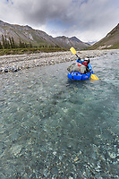 Packrafting the Matthews river in June, Arctic, Alaska