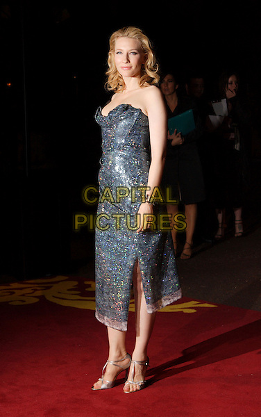 "CATE BLANCHETT.UK Premiere of ""Elizabeth - The Golden Age"" at the Odeon Leicester Square, London, England..October 23rd 2007.full length strapless grey gray blue silver sequined sequins jewel encrusted shoes.CAP/ROS.©Steve Ross/Capital Pictures"