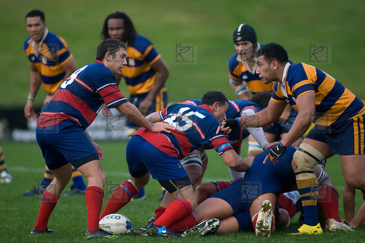 Jeff Maka comes around the side of a ruck as the ball emerges at Callum Cook's feet. CMRFU Counties Power 2008 Club rugby McNamara Cup Premier final between Ardmore Marist & Patumahoe played at Growers Stadium, Pukekohe on July 26th.  Ardmore Marist won 9 - 8.