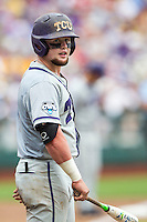 TCU Horned Frogs catcher Evan Skoug (9) against the LSU Tigers in the NCAA College World Series on June 14, 2015 at TD Ameritrade Park in Omaha, Nebraska. TCU defeated LSU 10-3. (Andrew Woolley/Four Seam Images)