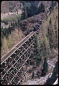 Elevated view of RGS #74 crossing Bridge 46-D with RMRRC excursion train.<br /> RGS  Ophir High Line, CO  Taken by Kindig, Richard H. - 5/29/1949