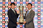 (L-R)  Takashi Sekizuka,  Norio Sasaki (JPN), JULY 2, 2012 - Football / Soccer : Japan Men's head coach Takashi Sekizuka and Women's head coach Norio Sasaki pose with the trophy during the press conference of 2012 London Olympic Games squad announcement at The Capitol Hotel Tokyu, Tokyo, Japan. (Photo by Atsushi Tomura/AFLO SPORT)