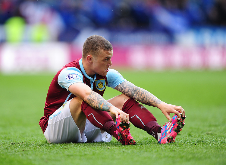 Burnley's Kieran Trippier looks dejected at the final whistle<br /> <br /> Photographer Chris Vaughan/CameraSport<br /> <br /> Football - Barclays Premiership - Burnley v Leicester City - Saturday 25th April 2015 - Turf Moor - Burnley<br /> <br /> &copy; CameraSport - 43 Linden Ave. Countesthorpe. Leicester. England. LE8 5PG - Tel: +44 (0) 116 277 4147 - admin@camerasport.com - www.camerasport.com