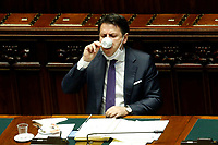 The Italian premier Giuseppe Conte drinks a coffee during his speech about the European Council at the Chamber of Deputies. Rome (Italy), July 22nd 2020<br /> Foto Samantha Zucchi Insidefoto