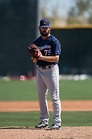 Milwaukee Brewers relief pitcher Jordan Desguin (75) during a Minor League Spring Training game against the Colorado Rockies at Salt River Fields at Talking Stick on March 17, 2018 in Scottsdale, Arizona. (Zachary Lucy/Four Seam Images)