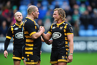 Jake Cooper-Woolley of Wasps celebrates the win with team-mate Tommy Taylor. European Rugby Champions Cup match, between Wasps and Connacht Rugby on December 11, 2016 at the Ricoh Arena in Coventry, England. Photo by: Patrick Khachfe / JMP