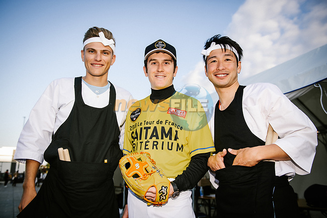 Baseball and drumming skills time for Marcel Kittel (GER), Tour de France Champion Geraint Thomas (WAL) and Fumiyuki Beppu (JPN) at the media day before the 2018 Saitama Criterium, Japan. 3rd November 2018.<br /> Picture: ASO/Pauline Ballet | Cyclefile<br /> <br /> <br /> All photos usage must carry mandatory copyright credit (&copy; Cyclefile | ASO/Pauline Ballet)