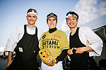Baseball and drumming skills time for Marcel Kittel (GER), Tour de France Champion Geraint Thomas (WAL) and Fumiyuki Beppu (JPN) at the media day before the 2018 Saitama Criterium, Japan. 3rd November 2018.<br /> Picture: ASO/Pauline Ballet | Cyclefile<br /> <br /> <br /> All photos usage must carry mandatory copyright credit (© Cyclefile | ASO/Pauline Ballet)