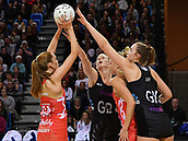 7th September 2017, Te Rauparaha Arena, Wellington, New Zealand; Taini Jamison Netball Trophy; New Zealand versus England;  Englands Helen Housby (L) has a shot blocked by Silver Ferns captain Katrina Grant (Back) and Kelly Jury