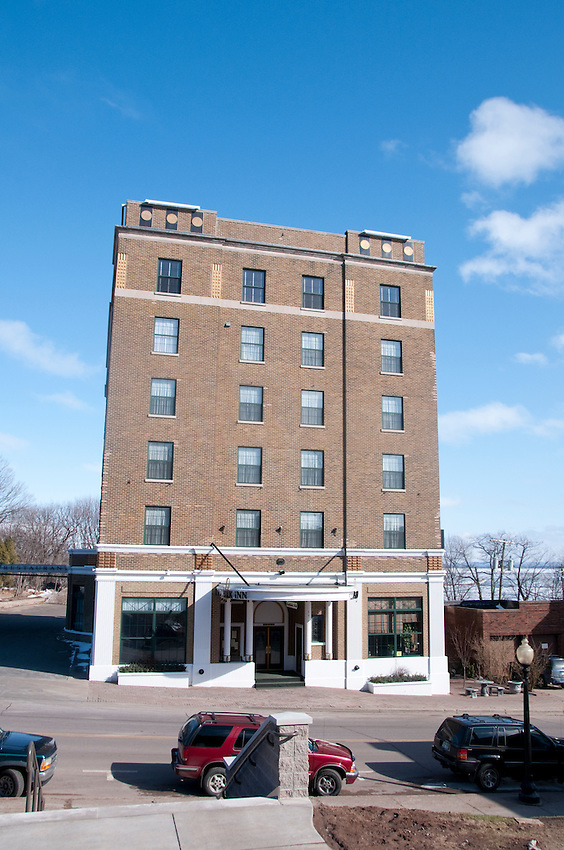 Exterior of The Landmark Inn, an historic hotel in Marquette Michigan.