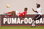 13 March 2008: Reggie Arosemena (PAN) (left) clears the ball with an overhead kick in front of Marvell Wynne (USA) (2). The United States U-23 Men's National Team defeated the Panama U-23 Men's National Team 1-0 at Raymond James Stadium in Tampa, FL in a Group A game during the 2008 CONCACAF's Men's Olympic Qualifying Tournament.