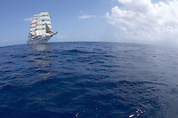 Caribbean cruise with Sea Cloud II. The ship under sails.