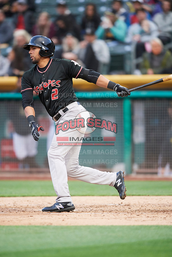 Noel Cuevas (2) of the Albuquerque Isotopes bats against the Salt Lake Bees at Smith's Ballpark on April 5, 2018 in Salt Lake City, Utah. Salt Lake defeated Albuquerque 9-3. (Stephen Smith/Four Seam Images)