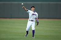 Winston-Salem Dash second baseman Nick Madrigal (4) warms up in the outfield prior to the game against the Myrtle Beach Pelicans at BB&T Ballpark on August 6, 2018 in Winston-Salem, North Carolina. The Dash defeated the Pelicans 6-3. (Brian Westerholt/Four Seam Images)