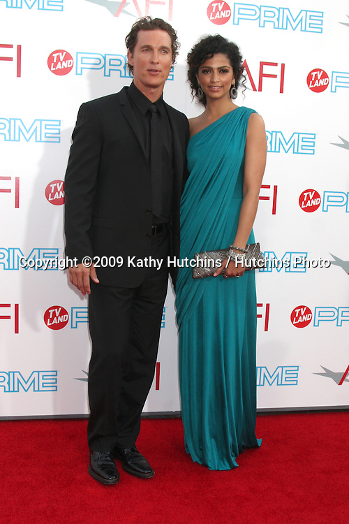Matthew McConaughey & Camilla Alves arriving at the AFI Life Achievement Awards honoring Michael Douglas  at Sony Studios, in  Culver City , CA on June 11, 2009.  The show airs ON TV LAND ON JULY 19, 2009 AT 9:00PM ET/PT..©2009 Kathy Hutchins / Hutchins Photo.