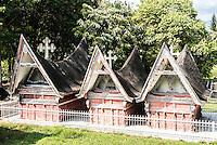 Traditional Batak style graves at Lake Toba (Danau Toba), West Sumatra, Indonesia