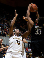 Talia Caldwell of California tries to rebound a loose ball against Amber Orrange of Stanford during the game at Haas Pavilion in Berkeley, California on January 8th, 2013.  Stanford defeated California, 62-53.