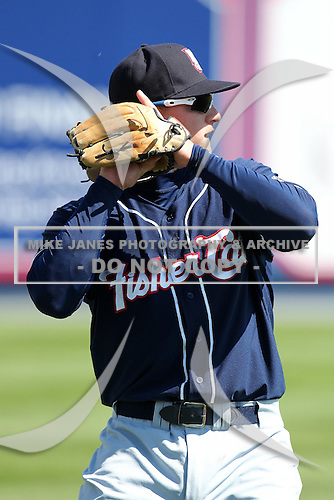 New Hampshire Fisher Cats third baseman Mark Sobolewski #4 warms up before a game against the Reading Phillies at FirstEnergy Stadium on May 5, 2011 in Reading, Pennsylvania.  New Hampshire defeated Reading by the score of 10-5.  Photo By Mike Janes/Four Seam Images