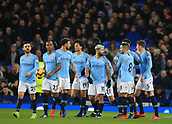 6th February 2019, Goodison Park, Liverpool, England; EPL Premier League Football, Everton versus Manchester City; Aymeric Laporte of Manchester City is congratulated on his opening goal after two minutes of injury time at the end of the first half