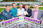 Pictured at the launch on Tuesday of the Kerry GAA Night of Champions DVD which goes on sale in the Kingdom Greyhound Stadium Tralee and the Kerry County Board Office with all proceeds going to Kerry Hospice, from left: Ger Galvin (vice chairman Kerry County Board), Declan Dowling (sales and operations manager Kingdom Greyhound Stadium), Dan Galvin (Kerry Hospice Foundation), Patrick O'Sullivan (chairman Kerry County Board), Murt Murphy (chairman Greyhound supporters club)