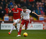 Chris Stokes of Coventry City tussles with Ryan Flynn of Sheffield Utd - English League One - Sheffield Utd vs Coventry City - Bramall Lane Stadium - Sheffield - England - 13th December 2015 - Pic Simon Bellis/Sportimage-
