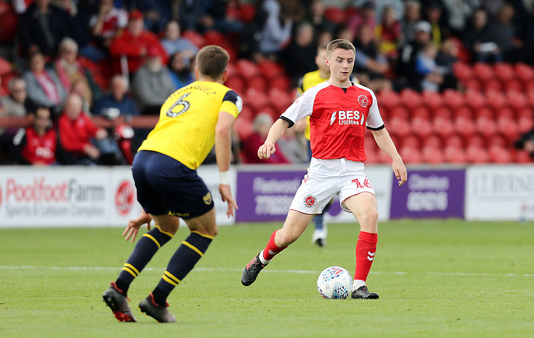 Fleetwood Town's Jordan Rossiter under pressure from Oxford United's Alex Gorrin<br /> <br /> Photographer Rich Linley/CameraSport<br /> <br /> The EFL Sky Bet League One - Fleetwood Town v Oxford United - Saturday 7th September 2019 - Highbury Stadium - Fleetwood<br /> <br /> World Copyright © 2019 CameraSport. All rights reserved. 43 Linden Ave. Countesthorpe. Leicester. England. LE8 5PG - Tel: +44 (0) 116 277 4147 - admin@camerasport.com - www.camerasport.com
