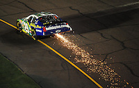 Apr 11, 2008; Avondale, AZ, USA; NASCAR Nationwide Series driver Jeff Burton sparks after hitting the wall during the Bashas Supermarkets 200 at the Phoenix International Raceway. Mandatory Credit: Mark J. Rebilas-