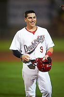 Auburn Doubledays third baseman Paul Panaccione (9) after being called out at first a game against the Tri-City ValleyCats on August 25, 2016 at Falcon Park in Auburn, New York.  Tri-City defeated Auburn 4-3.  (Mike Janes/Four Seam Images)