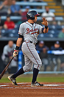 Rome Braves center fielder Connor Oliver #5 swings at a pitch during a game against the Asheville Tourists at McCormick Field on May 1, 2014 in Asheville, North Carolina. The Tourists defeated the Braves 8-7. (Tony Farlow/Four Seam Images)
