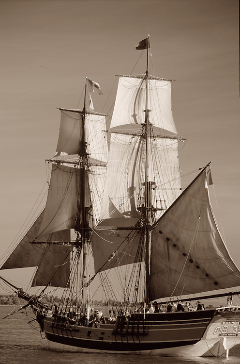 Lady Washington from rear port, sepia close-up, full sails, Tall Ships Festival, Steveston, BC.