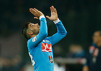 Napoli's Lorenzo Insigne  reacts during the  italian serie a soccer match,between SSC Napoli and AS Roma       at  the San  Paolo   stadium in Naples  Italy ,December 13, 2015