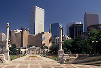 Denver, CO, Colorado, Skyline of downtown Denver from Civic Center Park.