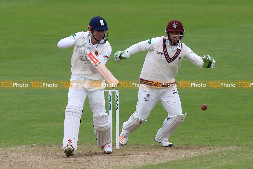 Alastair Cook in batting action for Essex as Steven Davies looks on from behind the stumps during Somerset CCC vs Essex CCC, Specsavers County Championship Division 1 Cricket at The Cooper Associates County Ground on 15th April 2017