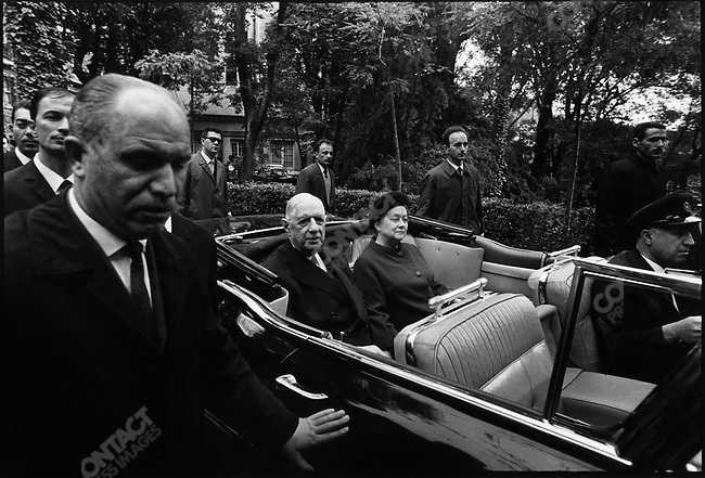 French President, Charles de Gaulle and Mrs. Yvonne de Gaulle, during their state visit, Istanbul, Turkey, October 1968